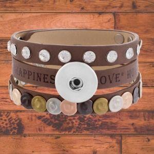 Brown Leather Snap Button Bracelet